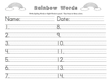 Spelling and sight words welcome to mrs perez 39 s second for Rainbow writing spelling words template